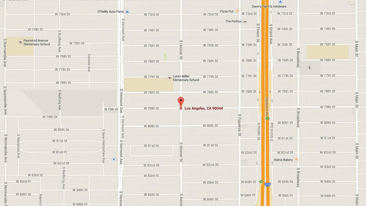 A map shows the intersection where three children and one adult were hit on Friday, Jan 2, 2014.