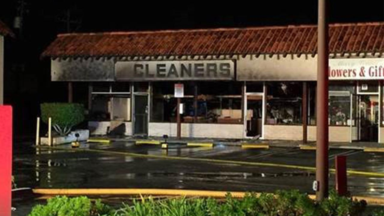 A dry cleaning business in Torrance caught on fire on Friday, Jan. 2, 2015.