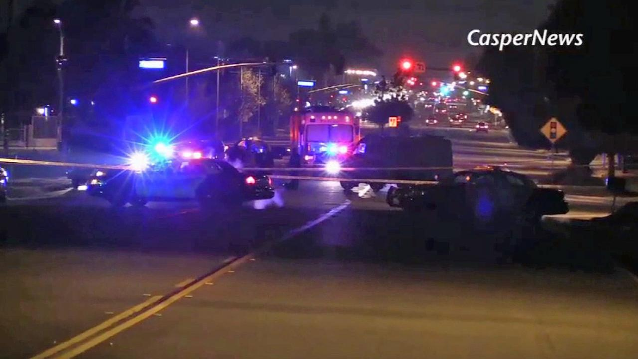 Authorities at the scene of a hit and run that left a man dead in Moreno Valley on Friday, Jan. 2, 2015.