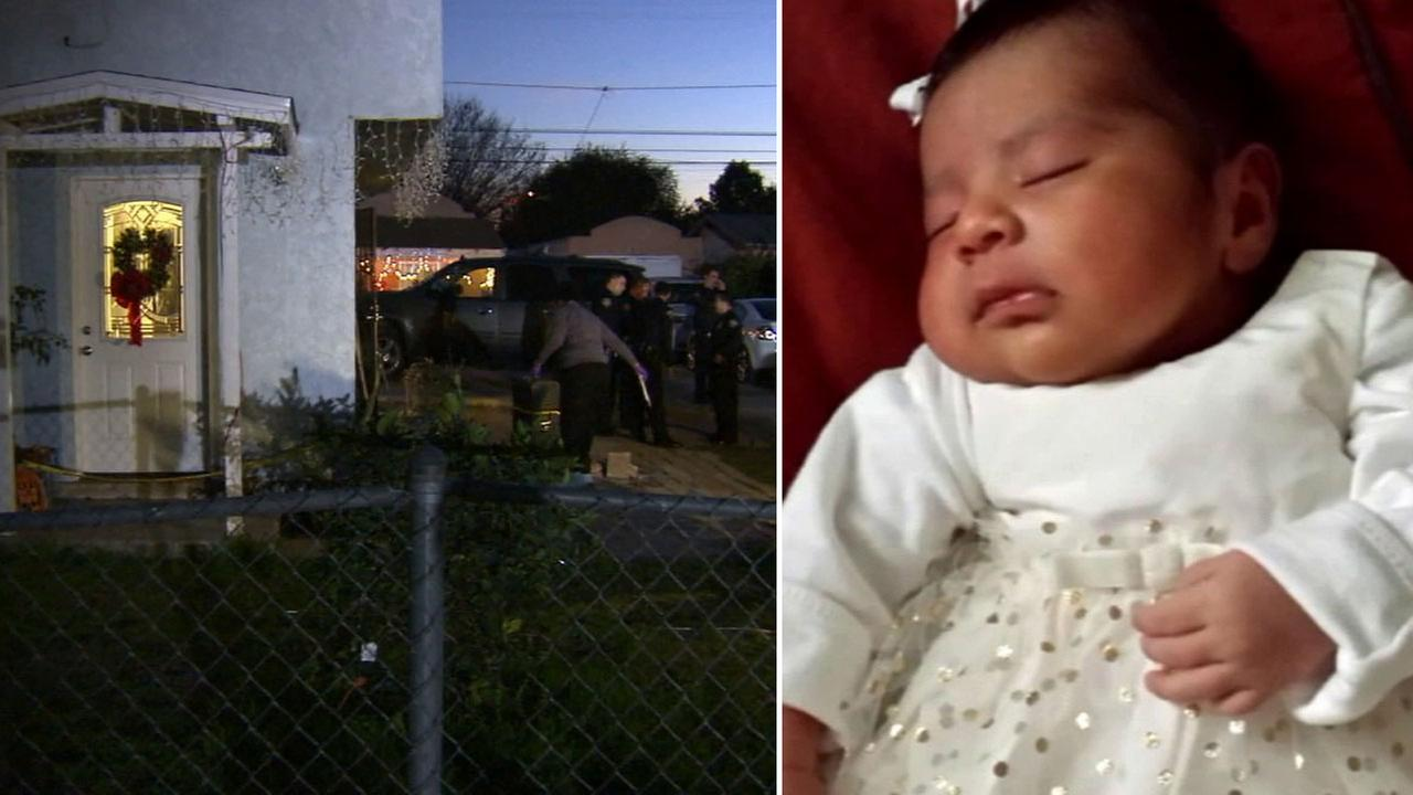 Long Beach police respond to the scene of a shooting in the 100 block of West 51st Street (left). Three-week-old Eliza Delacruz is seen in an undated photo (right).