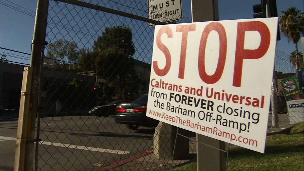 A sign against the planned Barham Boulevard exit off the 101 Freeway is shown in Universal City in this undated file image.