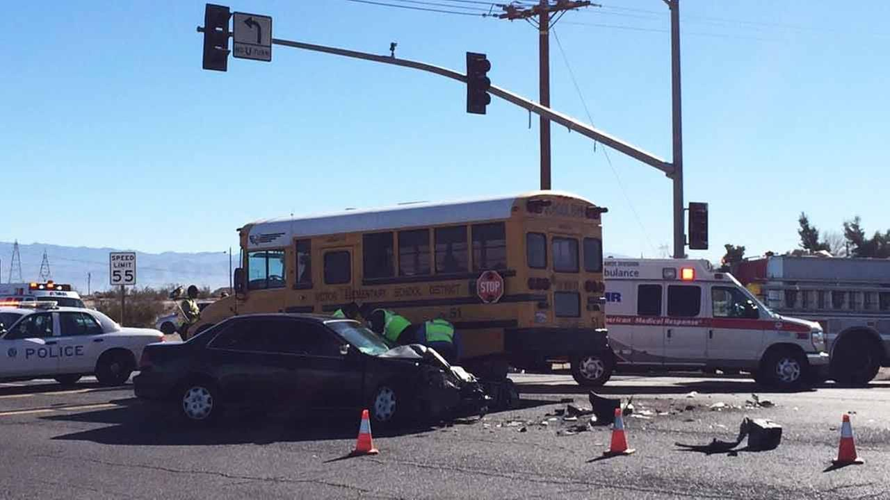 Three adults suffered minor injuries after a bus carrying special education students crashed into a passenger vehicle in Victorville on Tuesday, Jan. 6, 2015.