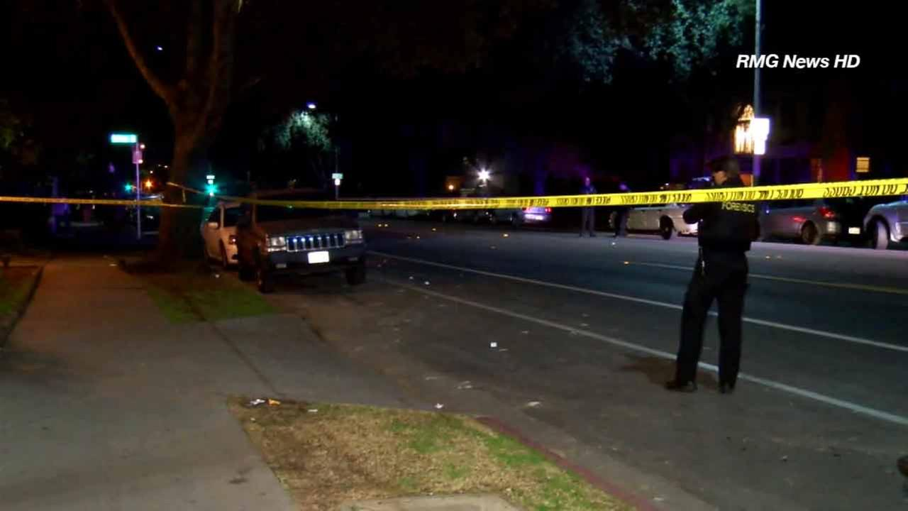 Crime scene tape ropes off the scene of a shooting in Pasadena on Tuesday, Jan. 6, 2015.