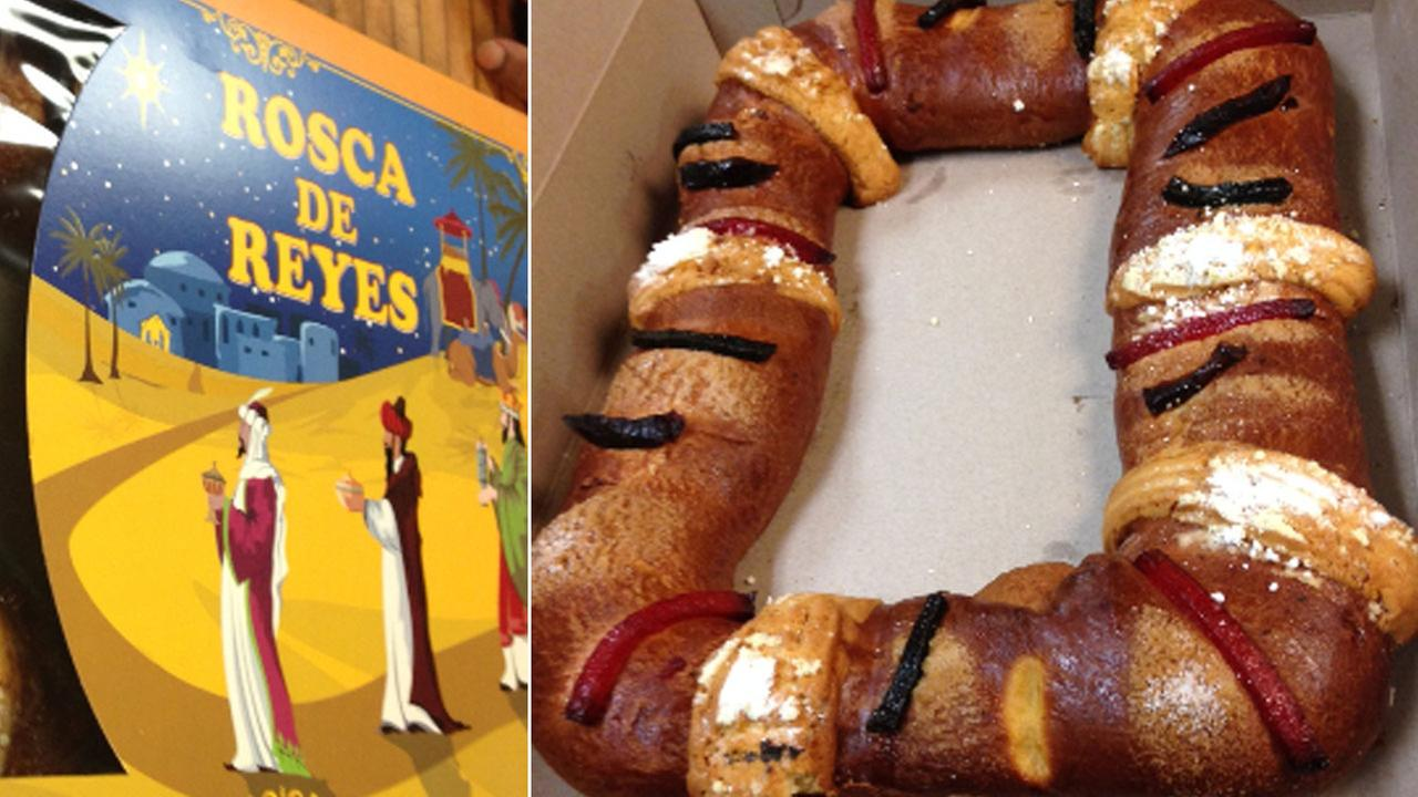 Rosca de Reyes, a fruit cake traditionally eaten to celebrate Epiphany, is seen.