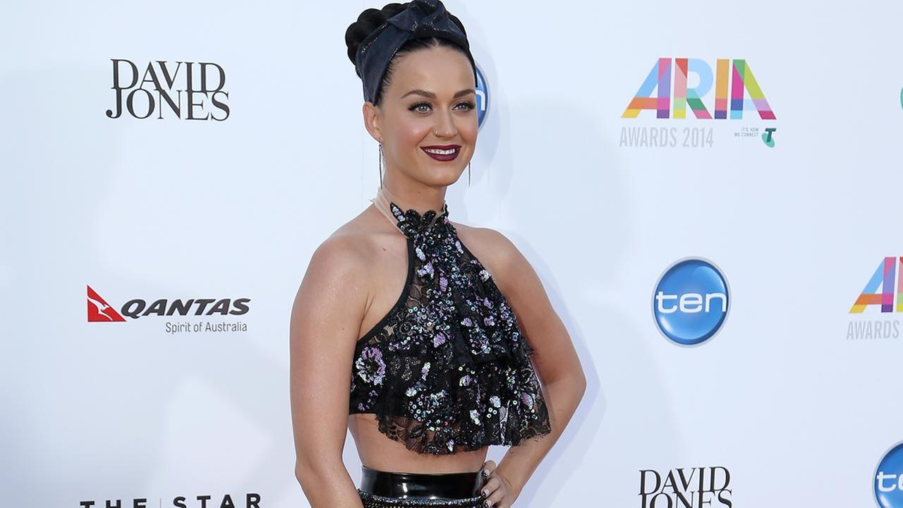 Pop star Katy Perry arrives for the Australian Recording Industry Association (ARIA) awards in Sydney, Wednesday, Nov. 26, 2014.