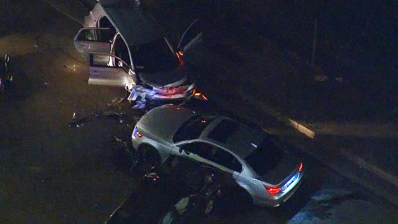 A high-speed chase ended with a traffic collision at the intersection of Saticoy Street and Whitsett Avenue in North Hollywood Tuesday, Jan. 13, 2015.