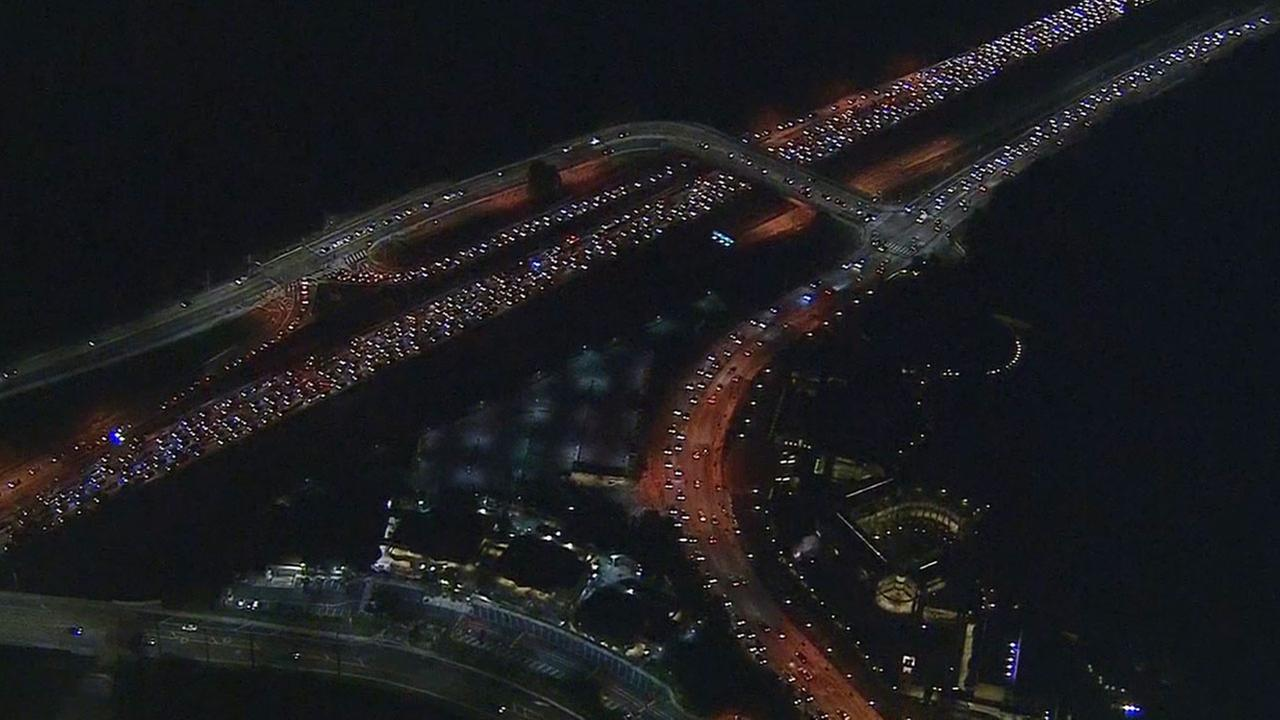 All lanes of the 405 Freeway were closed through the Sepulveda Pass following a multi-vehicle collision that left one person dead and two others injured Tuesday, Jan. 13, 2015.