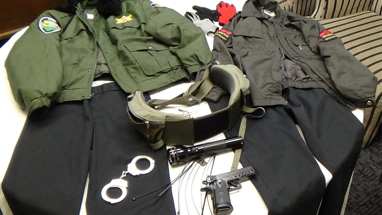 Carson Station Sheriffs detectives found two uniforms with police-like patches, a gun and handcuffs in the home of two women impersonating officers on Tuesday, Jan. 13, 2015.