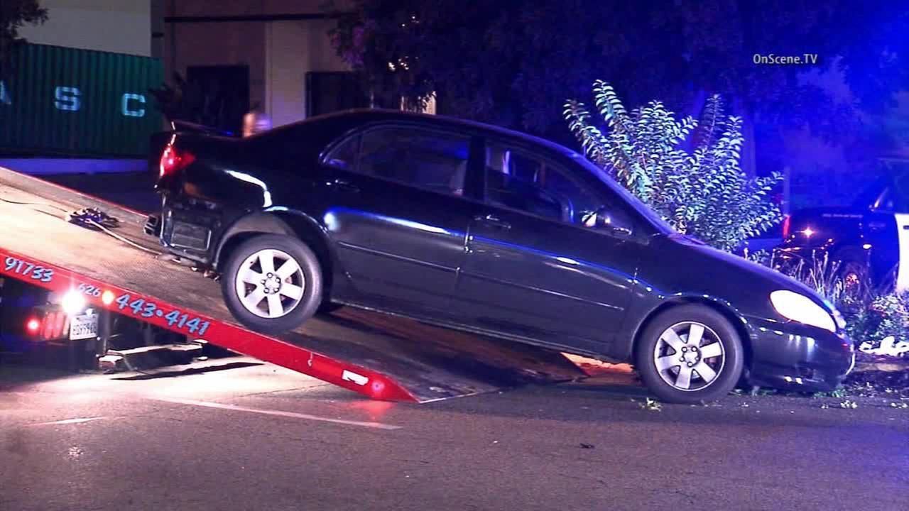 A burglary suspect was arrested after allegedly carjacking a vehicle and then crashing it in South El Monte on Thursday, Jan. 15, 2015.