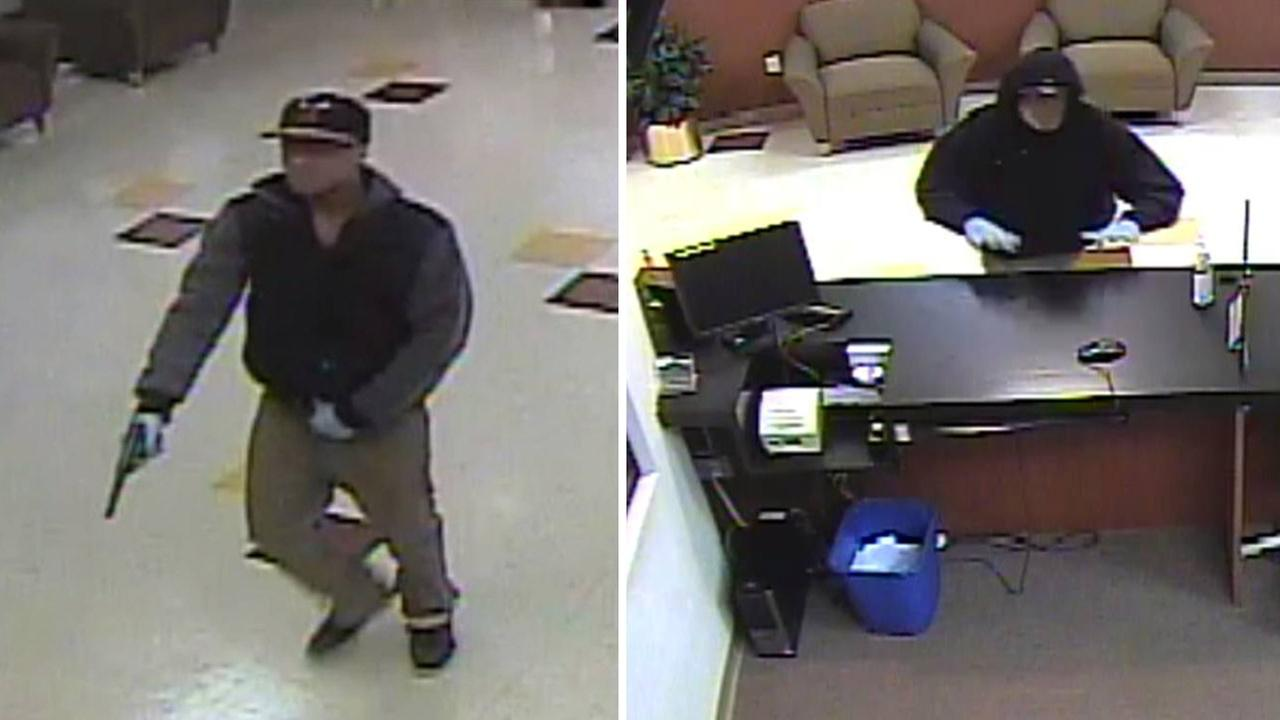 Two of the three suspects in a group nicknamed Two Guys and A Girl Bandits are shown in bank surveillance video.