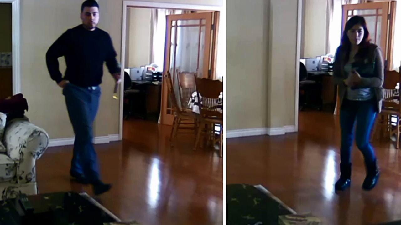 The man and woman, shown above, were captured on surveillance video inside a home in an unincorporated part of Arcadia on Tuesday, Jan. 6, 2015