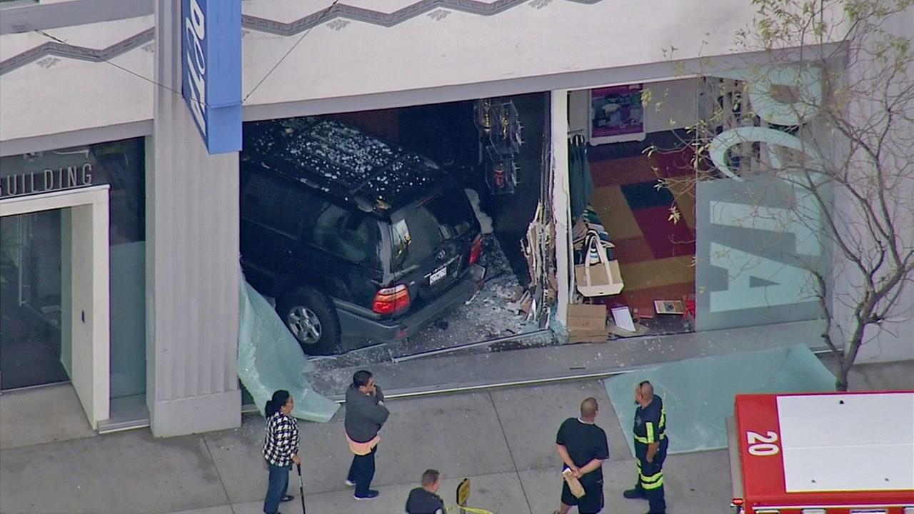 An SUV slammed into a PETA office in Echo Park on Friday, Jan. 16, 2015.