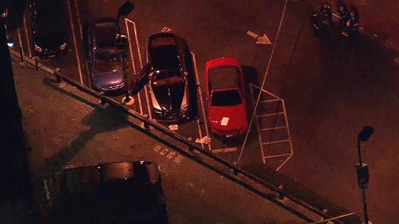 An aerial view of the scene where a man was shot while sitting in his Rolls Royce on Friday, Jan. 16, 2015.
