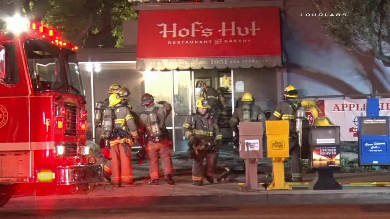 Firefighters on scene of a fire at Hofs Hut in Long Beach on Monday, Jan. 19, 2015.