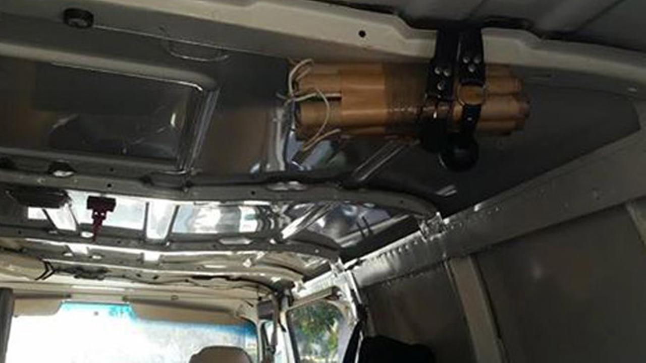 Several fireworks were strapped together and mounted on the inside of a van, shown above, and the item caused a bomb scare in Huntington Beach on Monday, Jan. 19, 2015.