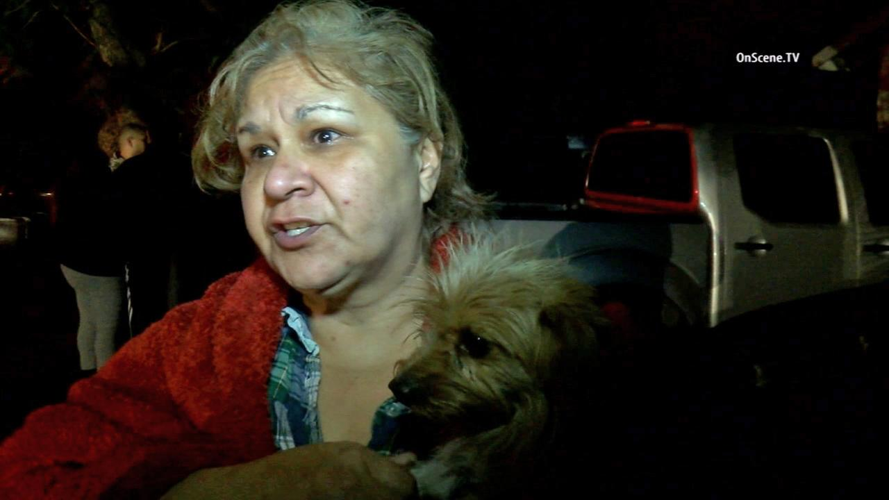 Santa Ana resident Vera Mendez talks about the fire at her home as she holds her dog on Wednesday, Jan. 21, 2015.