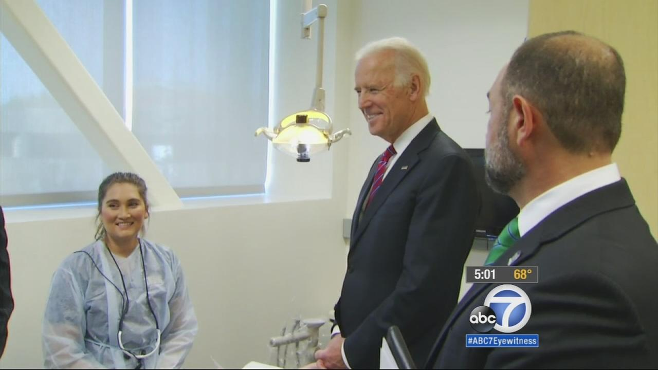 Vice President Joe Biden kicked off his visit to Southern California by hosting a roundtable discussion at West Los Angeles College.