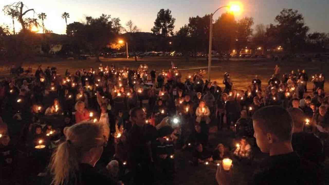 A candlelight vigil was held at Gibbel Park in Hemet Saturday, Jan. 24, 2015 for fallen Riverside County Sheriffs Department K9 Sultan.