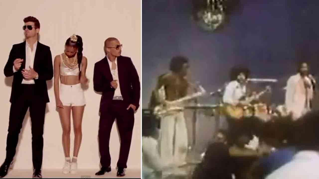 Robin Thicke and T.I. are seen in the video for Blurred Lines (left). Marvin Gaye is seen performing Got To Give It Up (right)
