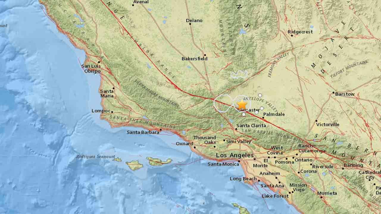 A USGS map show the location of a 3.5-magnitude earthquake that hit near Lancaster on Tuesday, Jan. 27, 2015.