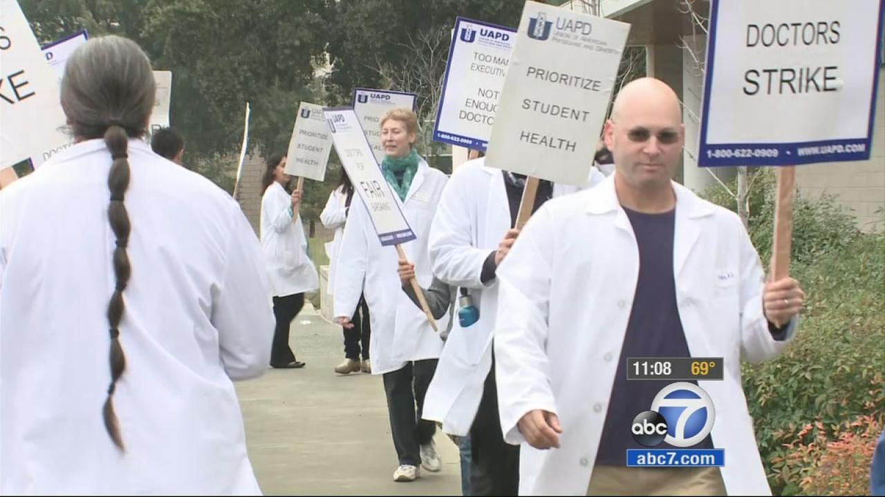 Doctors at the University of Californias student health centers are staging a one-day strike on Tuesday, Jan. 27, 2015.