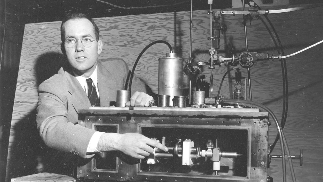In this Jan. 25, 1955, photo, Charles Hard Townes, Columbia University professor and Nobel laureate, explains his invention the maser during a news conference in New York City.