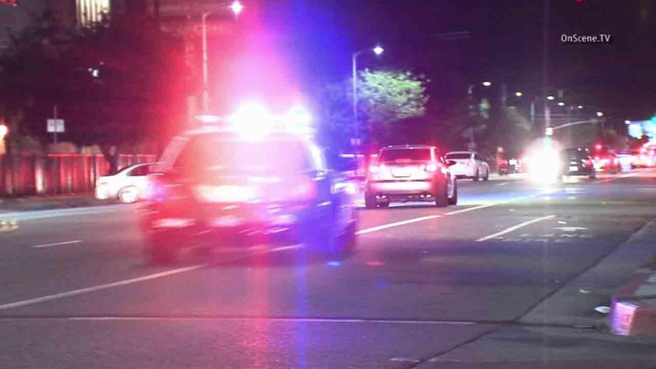 Los Angeles police respond to complaints of street racing near Sherman Way and Lankershim Boulevard in North Hollywood Wednesday, Jan. 28, 2015.