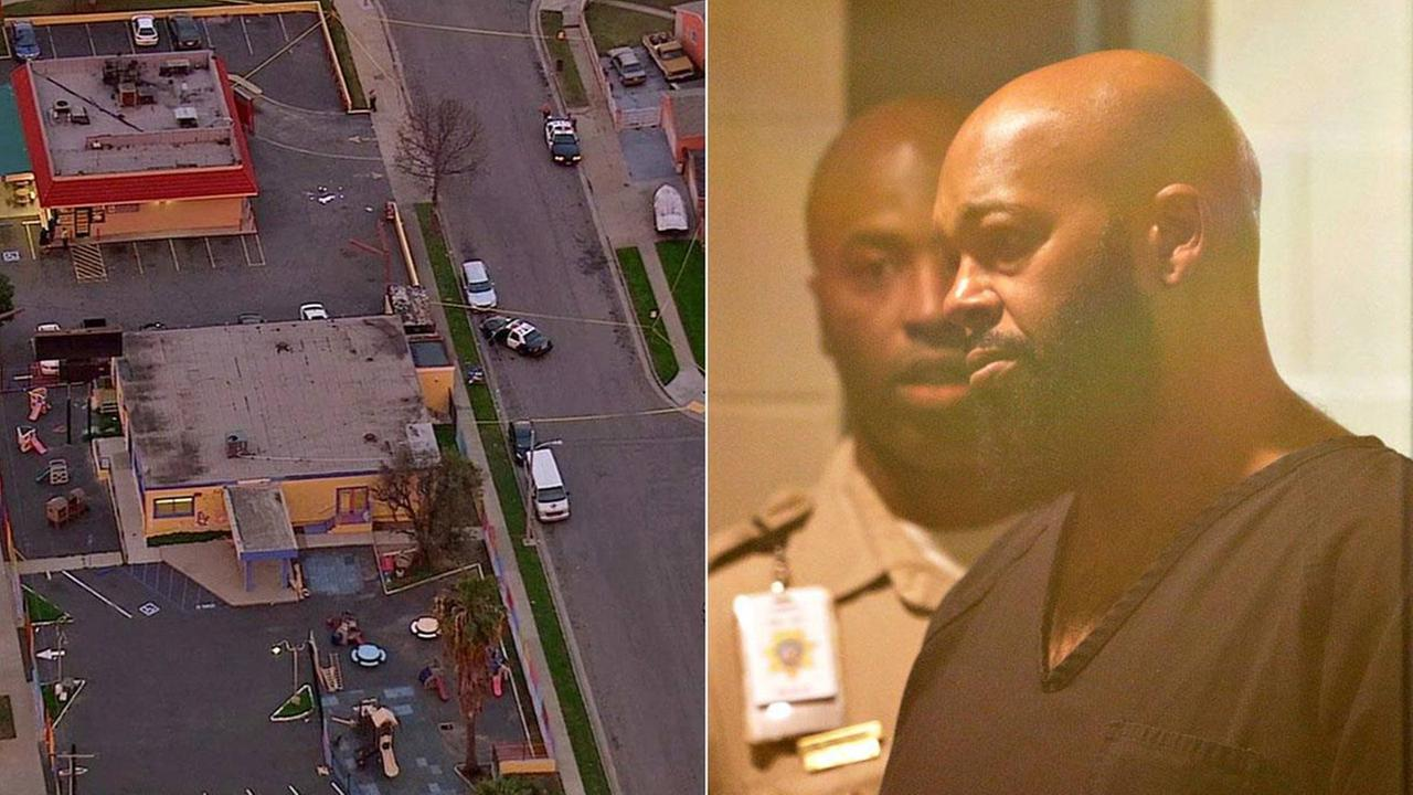 Los Angeles County sheriffs deputies investigate a fatal hit-and-run in Compton on Thursday, Jan. 29, 2015 (left). Rap music mogul Marion Suge Knight in court (right).
