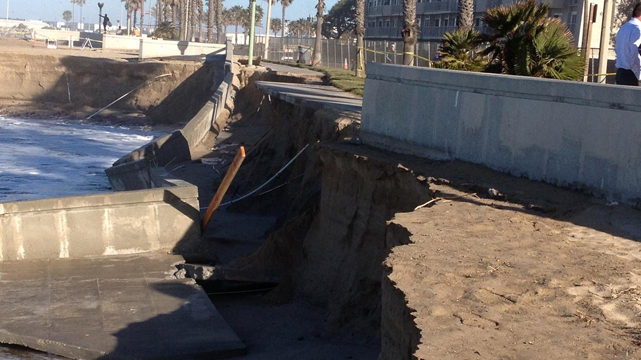 High tide damage in Hueneme Port is shown in this undated file photo.