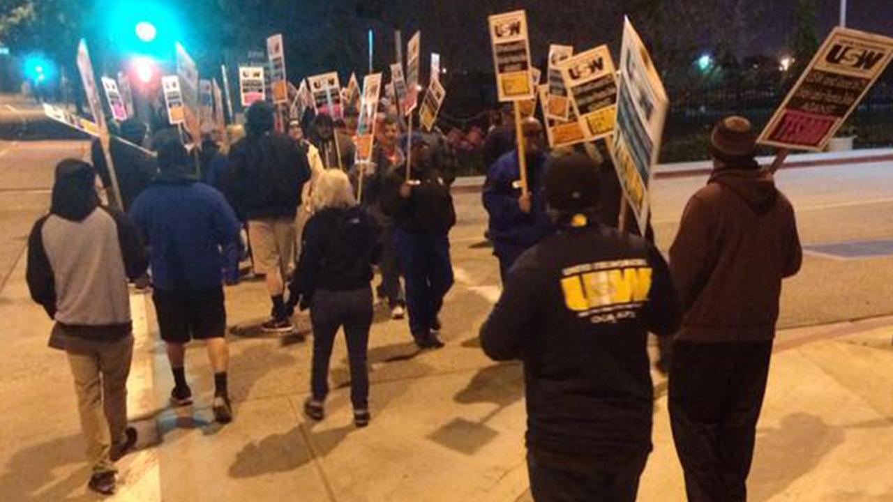 United Steelworkers union members picketed in Carson for higher wages, increased safety and better healthcare on Monday, Feb. 2, 2015.
