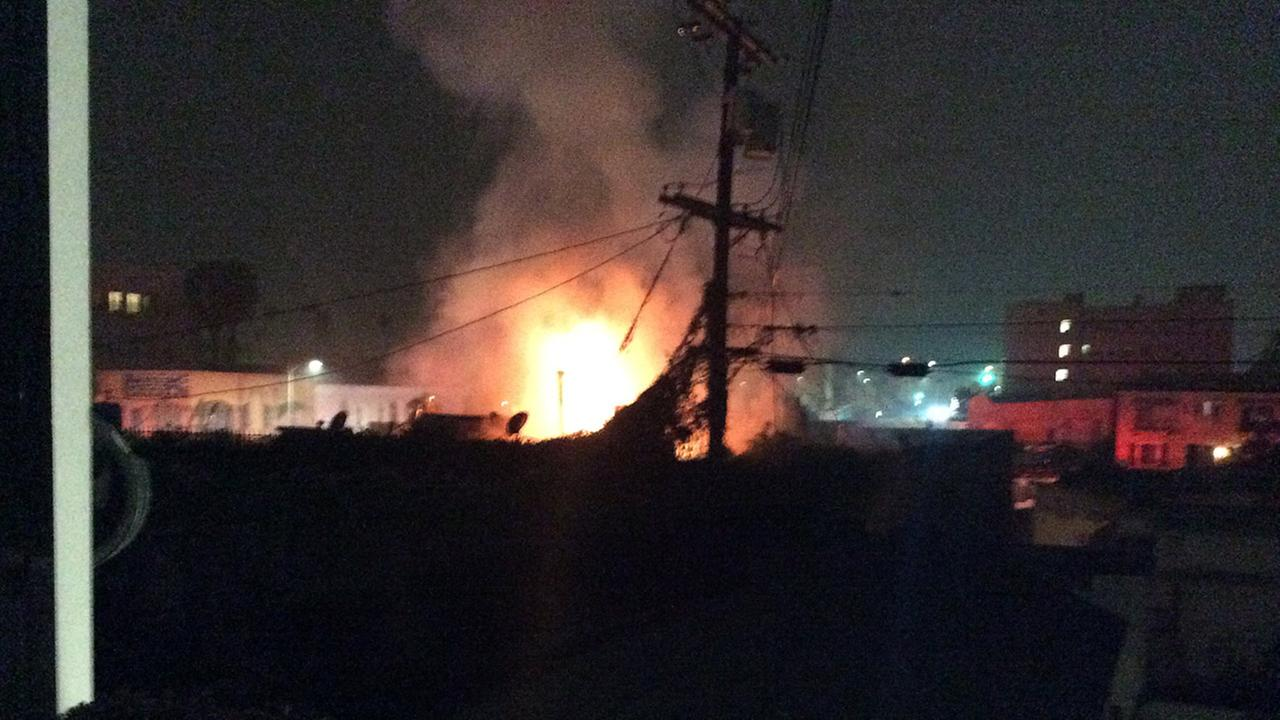 Flames erupted at a commercial building in Koreatown on Wednesday, Feb. 4, 2015.