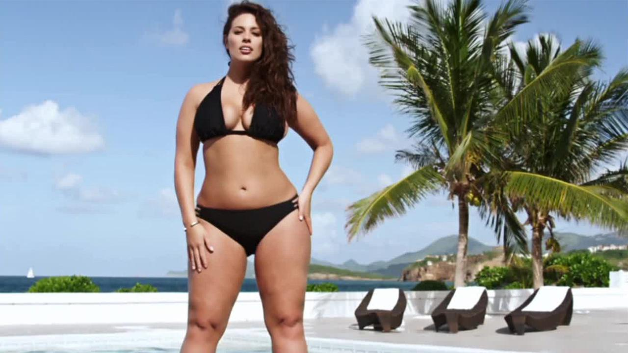 Ashley Graham is shown modeling for the swimsuit edition of Sports Illustrated.