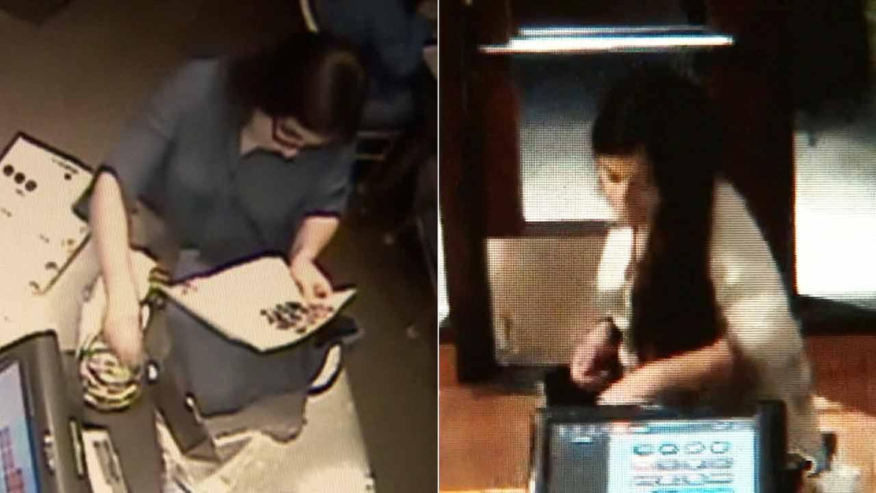 Surveillance images show a woman stealing money from restaurant tip jars.