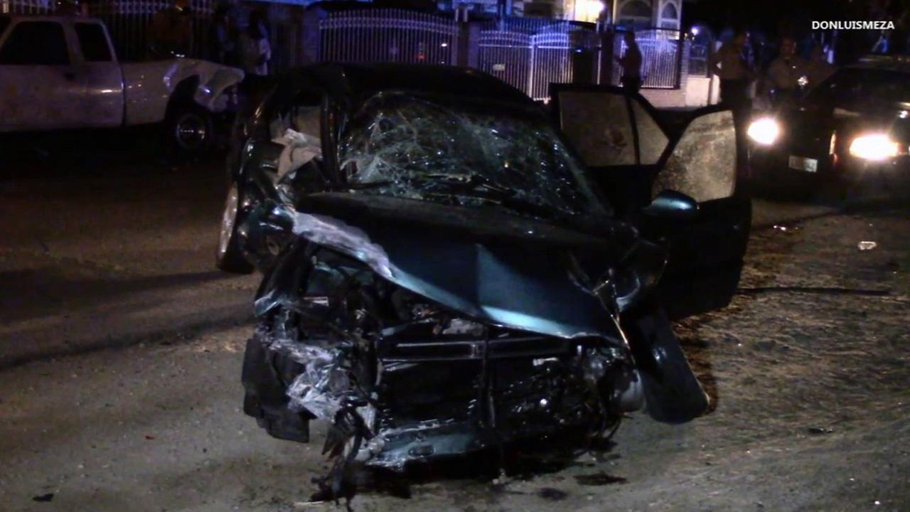 Two suspects led police on a chase through Palmdale that ended in a crash around midnight on Sunday, Feb. 15, 2015.