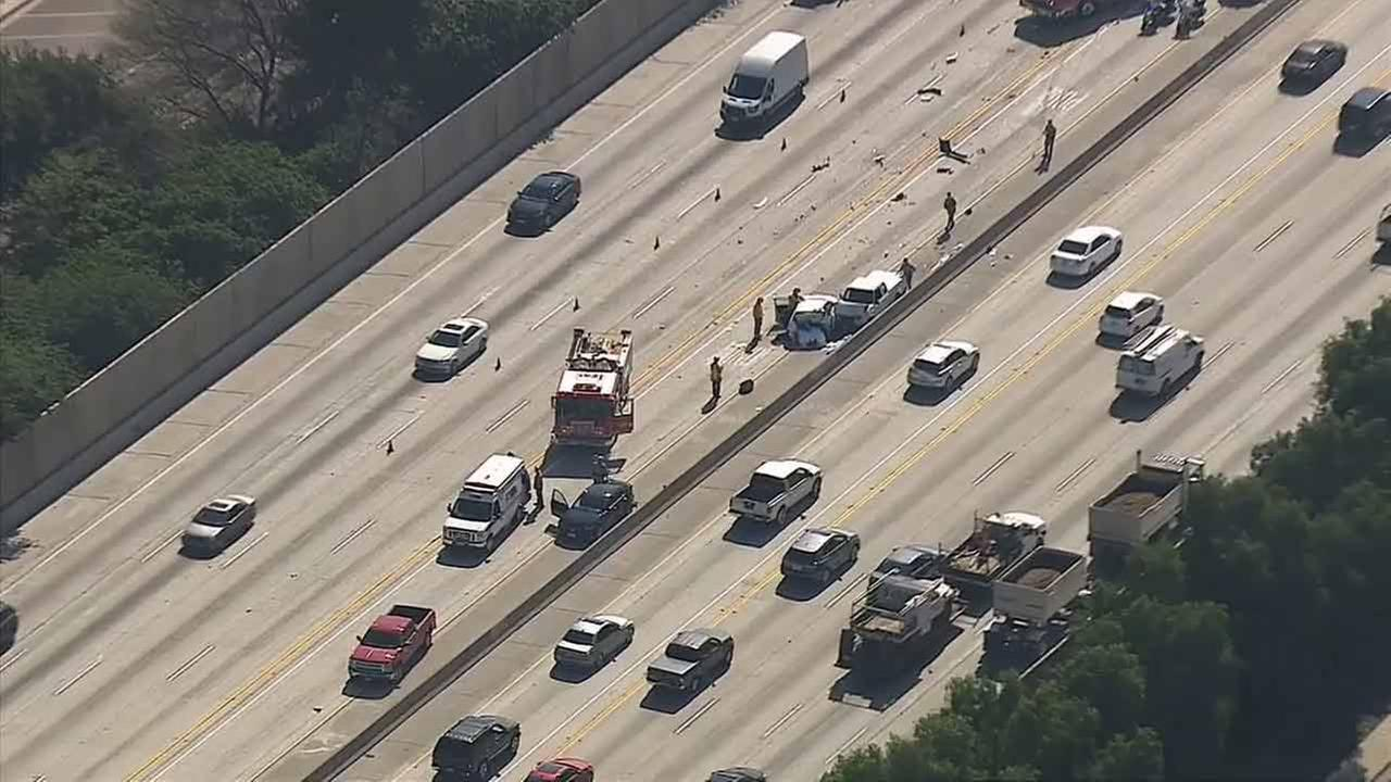 This aerial image from AIR7 HD shows a multiple-car crash on the 57 Freeway in Diamond Bar, where one person was killed and three others were injured on Monday, Feb. 16, 2015.