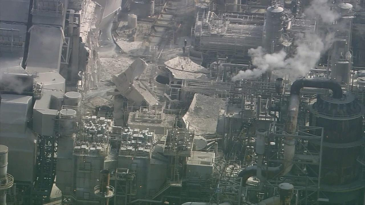 Damage is seen from AIR7 HD after an explosion at the Exxon Mobil refinery in Torrance on Wednesday, Feb. 18, 2015.
