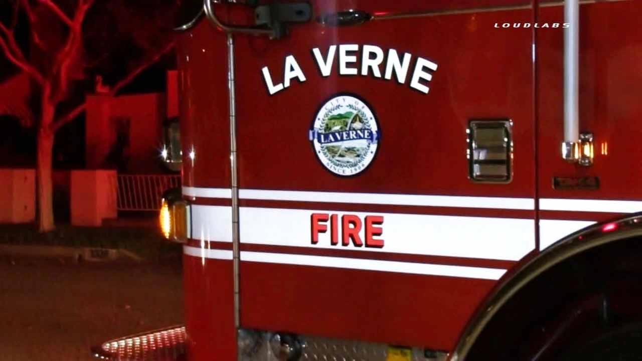 A La Verne Fire Department engine is shown near the 1300 block of Third Street in La Verne on Sunday, Feb. 22, 2015.