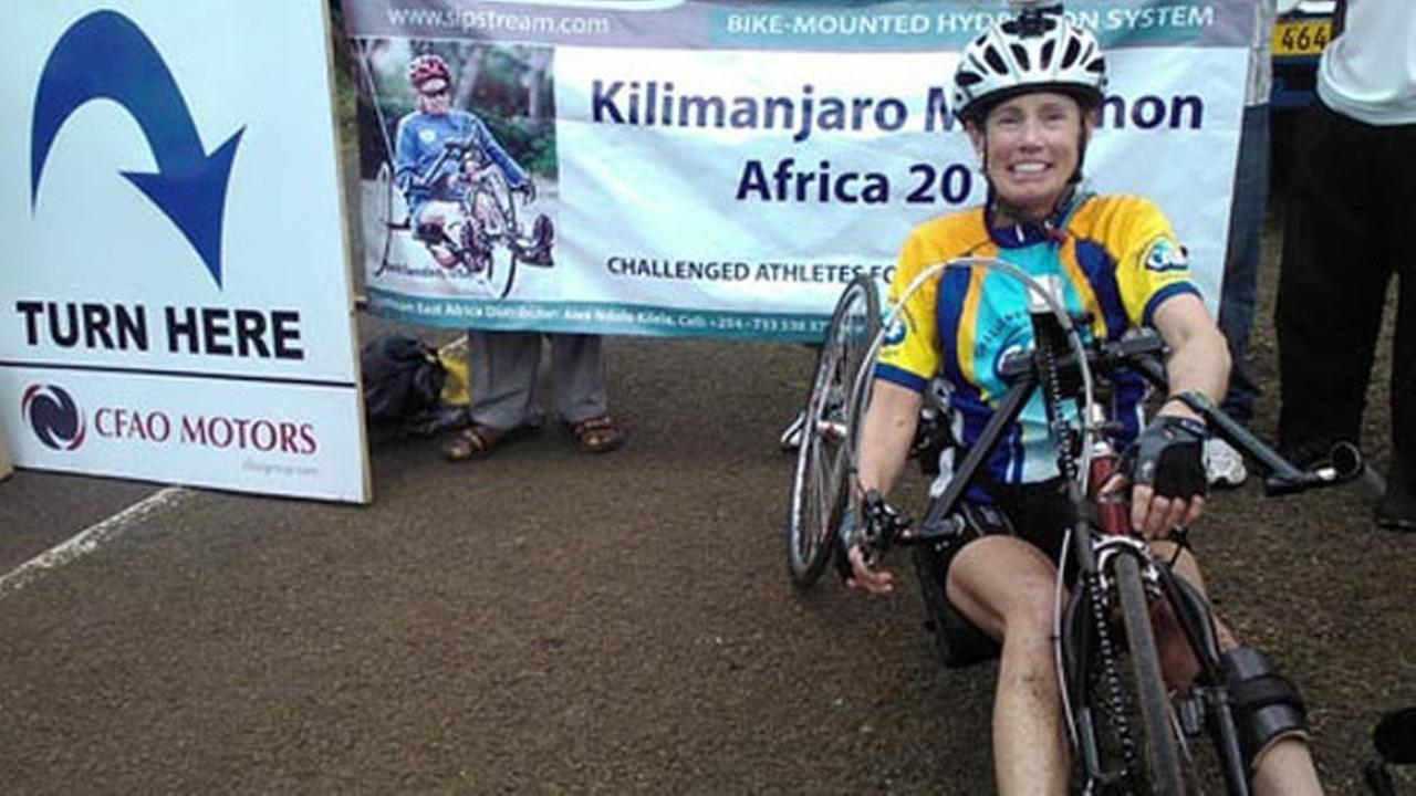 Sanden is getting closer to her goal when she finishes a marathon in Africa at Mt. Kilimanjaro.
