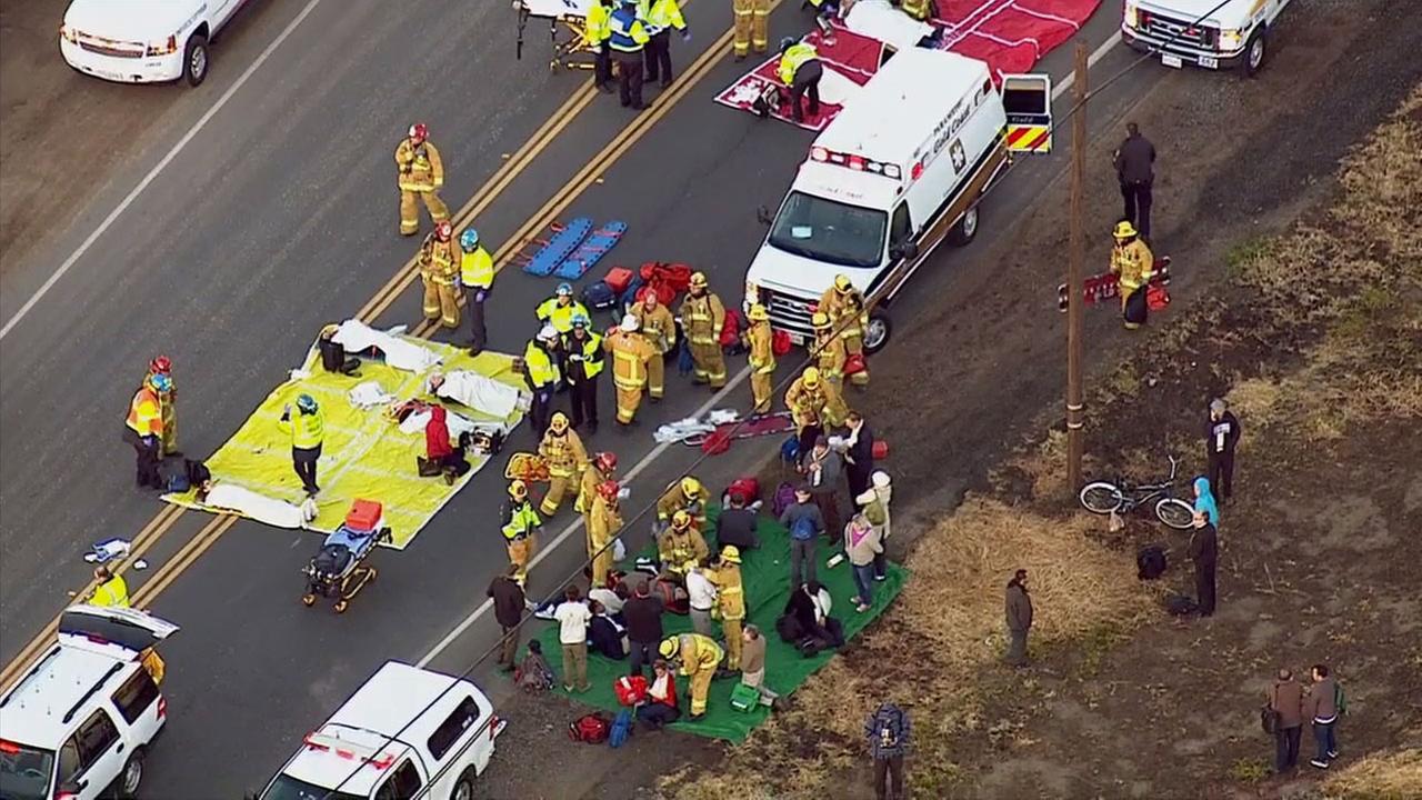 First responders assess injuries following a Metrolink train crash in Oxnard on Tuesday, Feb. 24, 2015.