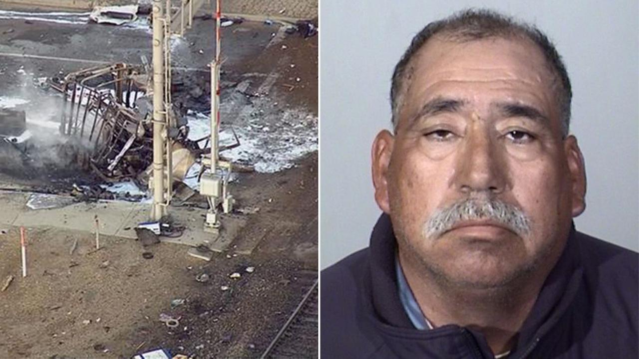 Jose Alejandro Sanchez Ramirez,54, of Yuma (right). The burnt remains of Ramirezs pickup truck, which was hauling a trailer, on the train tracks in Oxnard Tuesday, Feb. 24, 2015.