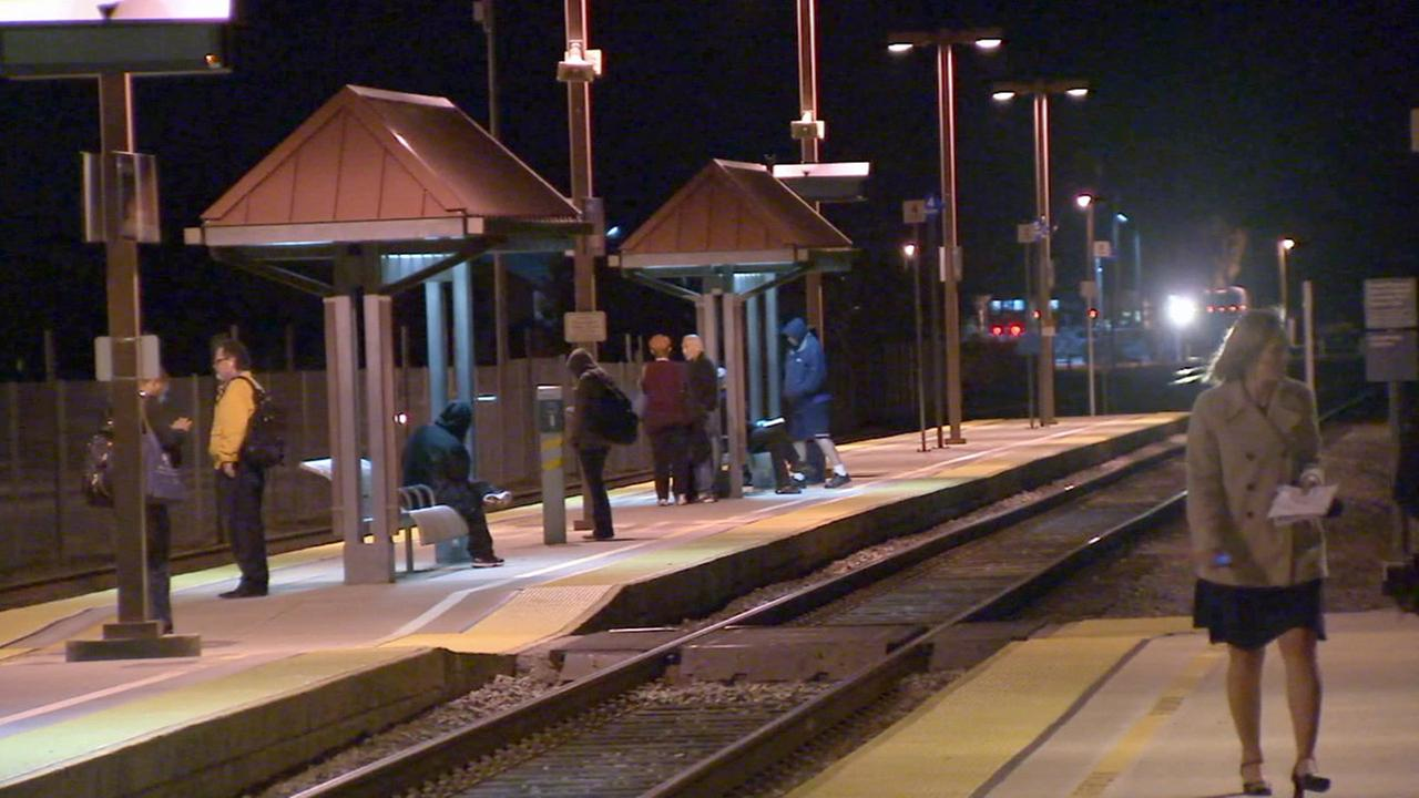 Metrolink commuters at the Moorpark station wait for the next train on Wednesday, Feb. 25, 2015.