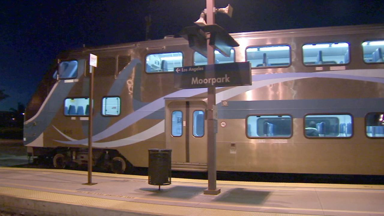 A Metrolink train leaves the Moorpark station on Wednesday, Feb. 25, 2015.