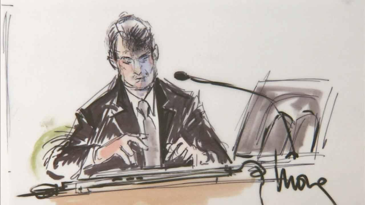 Robin Thicke is portrayed in a court artist rendering during the copyright infringement trial surrounding his hit song, Blurred Lines.