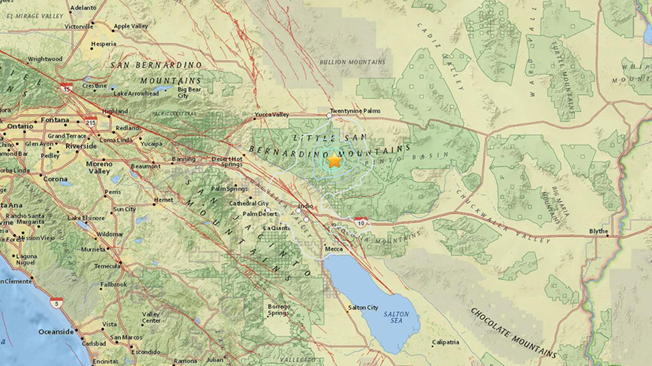 A map shows the area where a 3.7-magnitude earthquake struck 14 miles south of Twentynine Palms in San Bernardino County Wednesday, Feb. 25, 2015.
