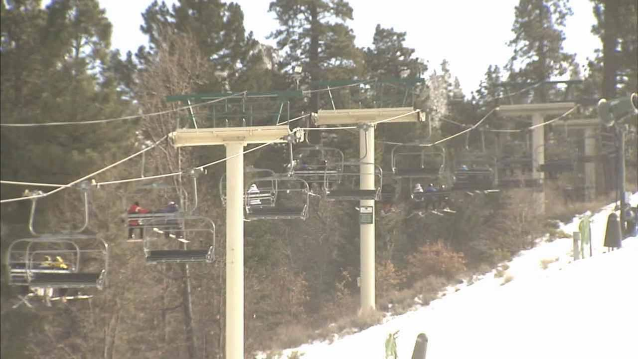Skiers and snowboarders ride lifts in Big Bear on Saturday, Feb. 28, 2015.