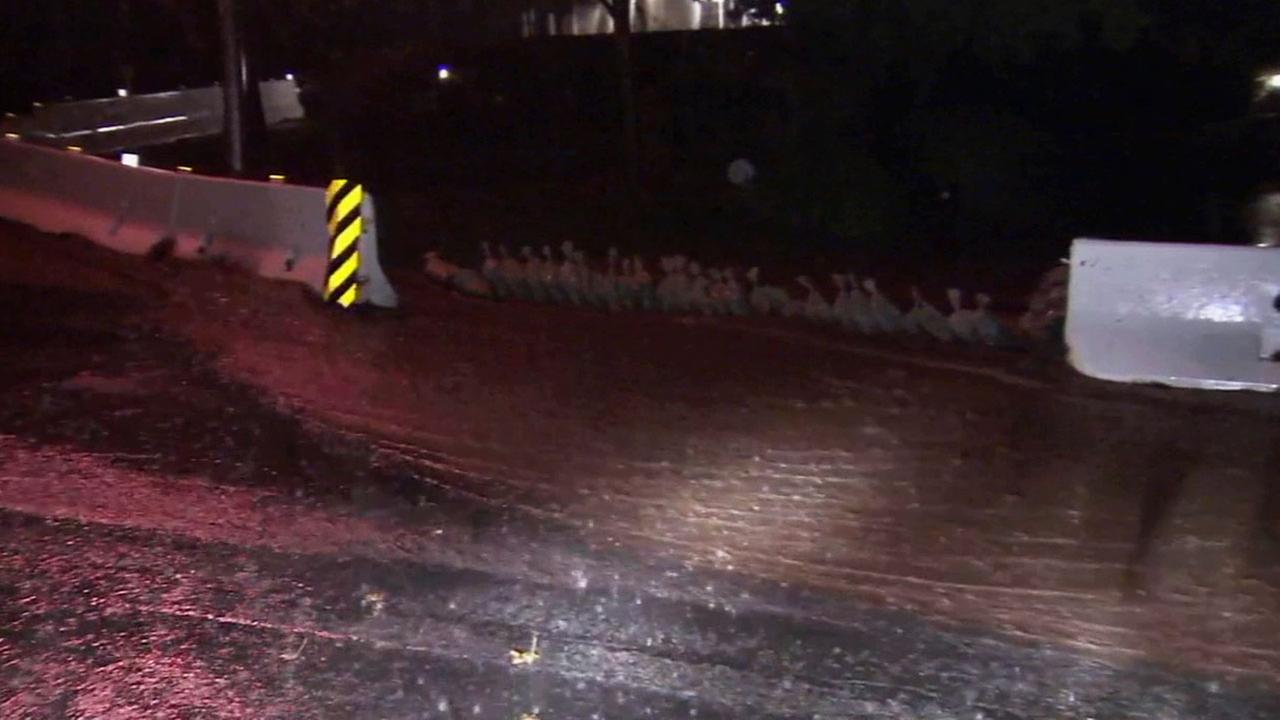 Light to moderate rain began falling Saturday night in the Colby fire burn area in Glendora, where residents are on alert for possible mudslides.