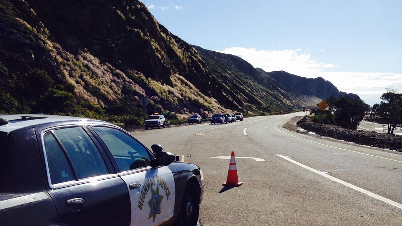 The California Highway Patrol shut down Pacific Coast Highway near Point Mugu Rock due to a mudslide on Sunday, March 1, 2015.