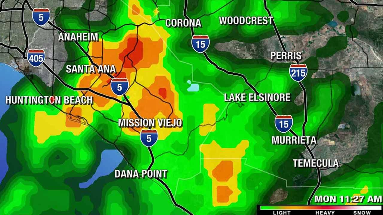The LIVE MEGADOPPLER 7000 HD radar shows rain activity over Orange County on Monday, March 2, 2015.