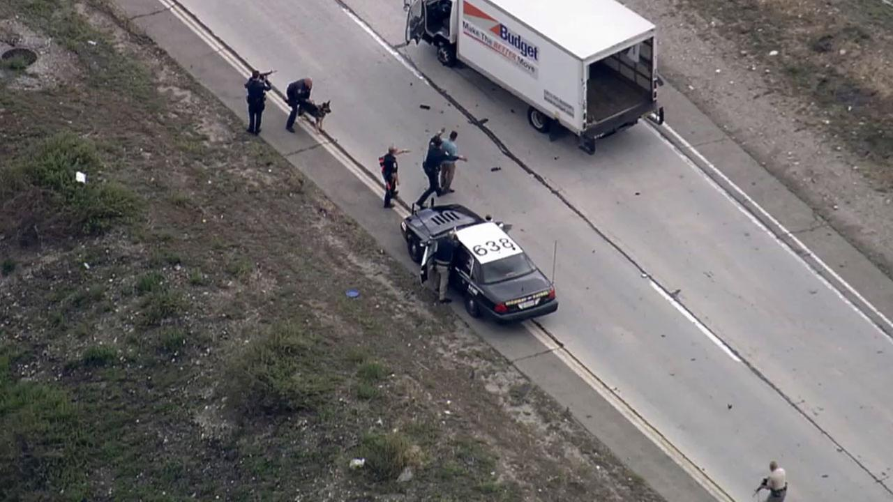 A car thief was taken into custody on the transition road to the northbound 15 Freeway in Etiwanda after CHP officers deployed spike stripes Monday, March 2, 2015.