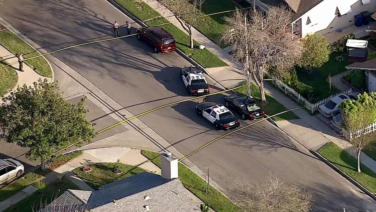 Los Angeles County sheriffs deputies respond to the scene of a deputy-involved shooting in the 12400 block of 215th Street in Lakewood Tuesday, March 3, 2015.